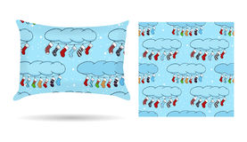 Sweetheart Decorative pillow with patterned pillowcase in cartoon style blue background. Isolated on white. Interior design elemen Royalty Free Stock Image