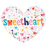 Sweetheart heart shaped lettering. Sweetheart heart shaped typography lettering card Stock Image