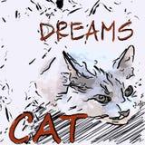 Sweetheart kitty sleep. Cat lay on the floor and vector illustration