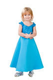 Sweetheart little girl in blue gown isolated Royalty Free Stock Photos