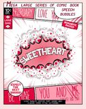 Sweetheart. Love series pop art speech bubble. Sweetheart. Fun explosion in comic style with lettering, hearts, lips, arrows and realistic puffs smoke Royalty Free Stock Image
