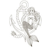 Sweetheart mermaid girl sitting on the anchor. Royalty Free Stock Image