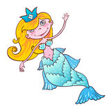 Sweetheart mermaid. Kawaii girl Naiad Maritime princess. Stock Image