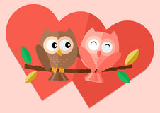 Sweetheart owls  with love on tree. And two red hearts in background  flat illustration Royalty Free Stock Photo
