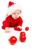 Sweetheart in red bodysuit and Santa hat Stock Photos