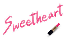 Sweetheart text write by Lipstick pink color Royalty Free Stock Image