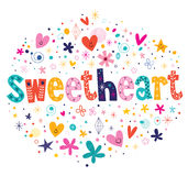 Sweetheart typography lettering decorative text Royalty Free Stock Images