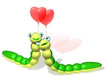 Sweethearts. The three-dimensional animated image of caterpillars with balloons as hearts Royalty Free Illustration