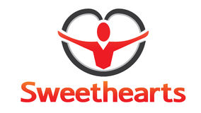 Sweethearts. With a guy inside heart shape Royalty Free Stock Photography