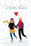 Sweethearts boy and girl. Skating in the winter under the snow. Vector card Royalty Free Stock Photography