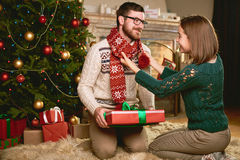Sweethearts on Christmas eve Royalty Free Stock Photo