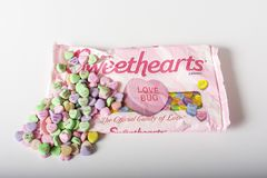 Sweethearts conversation candy hearts. Chambersburg Pa. USA 1/29/2019 bag of sweethearts conversation candy valentine hearts by the Necco company with candy royalty free stock photo