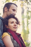 Sweethearts hugging in the park Stock Photography