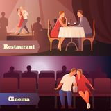 Sweethearts In Public Set. Romantic dinner dating couples flat compositions with loving couple having a date in cinema and restaurant vector illustration Royalty Free Stock Images