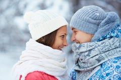 Sweethearts in winterwear Royalty Free Stock Photo