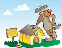 Sweethome. Vector illustration of a dog posing at his own house Royalty Free Stock Photo
