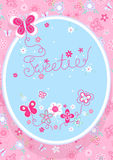 Sweetie butterfly. Vector illustration of a girls embroidery with matching repeat pattern Royalty Free Stock Image