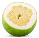 Sweetie citrus fruit cut in half. Isolated on white background. Clipping Path royalty free stock photos