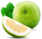Sweetie citrus fruit and slice with leaf stock image