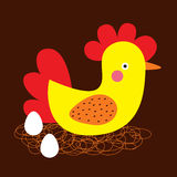 Sweetie cute chicken. Love chicken one the nest and some eggs Royalty Free Stock Image