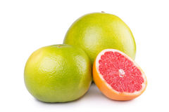 Sweetie, grapefruit and pomelo. Pomelo, sweetie and grapefruit with cut on white background Royalty Free Stock Photography