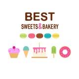 Sweeties cakes flat set stock illustration