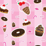 Sweeties seamless pattern. On pink background stock illustration