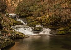 A sweetly cascading waterfall, southeastern Tennessee, USA. A sweetly cascading unnamed waterfall amidst winter`s bare branches, southeastern Tennessee, USA royalty free stock photography