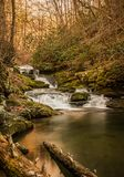 A sweetly cascading waterfall, southeastern Tennessee, USA. A sweetly cascading unnamed waterfall amidst winter`s bare branches, southeastern Tennessee, USA stock photos