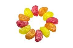 Sweetmeats. Fruit sweetmeats isolated on white background royalty free stock images