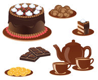 Sweetness. Sweet culinary products to tea. Vector illustration Stock Photos