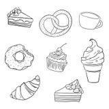 Sweetness black and white vector illustration. Sweetness black and white hand drawn doodle vector illustration Royalty Free Stock Photo