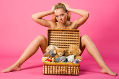Sweetness blond with box of teddies Royalty Free Stock Images