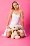 Sweetness blond with teddy Stock Image