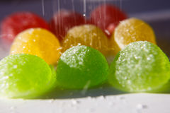 Sweetness of candy, chewing sugar,. Close-up shooting Royalty Free Stock Image