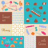 The sweetness of candy, chocolate, honey. Set of cells with sweets, chocolates, honey and various patterns Royalty Free Stock Photos