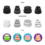 Sweetness, dessert, cream, treacle .Cakes country set collection icons in black, flat, monochrome style vector symbol. Stock illustration Stock Photography