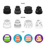 Sweetness, dessert, cream, treacle .Cakes country set collection icons in black,flat,outline style vector symbol stock. Illustration Royalty Free Stock Photography