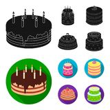 Sweetness, dessert, cream, treacle .Cakes country set collection icons in black, flat style vector symbol stock. Illustration Stock Photography