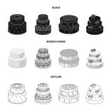 Sweetness, dessert, cream, treacle .Cakes country set collection icons in black,monochrome,outline style vector symbol. Stock illustration Royalty Free Stock Photos
