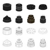 Sweetness, dessert, cream, treacle .Cakes country set collection icons in black,outline style vector symbol stock. Illustration Stock Photos