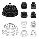 Sweetness, dessert, cream, treacle .Cakes country set collection icons in black,outline style vector symbol stock. Illustration Stock Images