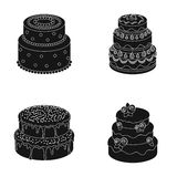 Sweetness, dessert, cream, treacle .Cakes country set collection icons in black style vector symbol stock illustration.  Royalty Free Stock Photos