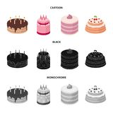 Sweetness, dessert, cream, treacle .Cakes country set collection icons in cartoon,black,monochrome style vector symbol. Stock illustration Royalty Free Stock Photos
