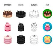 Sweetness, dessert, cream, treacle .Cakes country set collection icons in cartoon,black,outline,flat style vector symbol. Stock illustration Stock Photography