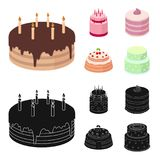 Sweetness, dessert, cream, treacle .Cakes country set collection icons in cartoon,black style vector symbol stock. Illustration Royalty Free Stock Image
