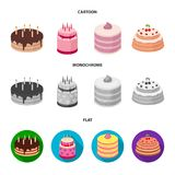 Sweetness, dessert, cream, treacle .Cakes country set collection icons in cartoon,flat,monochrome style vector symbol. Stock illustration Stock Photography