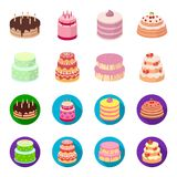 Sweetness, dessert, cream, treacle .Cakes country set collection icons in cartoon,flat style vector symbol stock. Illustration Stock Photos