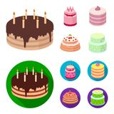 Sweetness, dessert, cream, treacle .Cakes country set collection icons in cartoon,flat style vector symbol stock. Illustration Stock Images