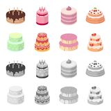 Sweetness, dessert, cream, treacle .Cakes country set collection icons in cartoon,monochrome style vector symbol stock. Illustration Stock Photo
